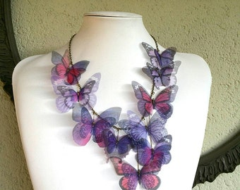 Butterflies Statement Necklace with Silk Organza Butterflies in Purple and Pink, Handmade Butterfly Necklace, Bib Necklace, I Will Fly Away