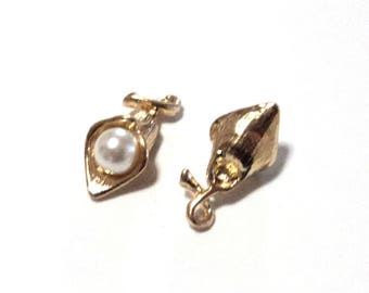 2 Flower Bud Charms, Gold Toned with Faux Pearl, Small Charms, Earring Components, DIY Jewelry Supplies, Findings