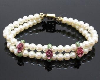 Pearl Rose Bracelet Vintage Jewelry Bridal B7530