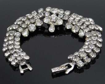 Wide Rhinestone Bracelet Domed Unusual Vintage Jewelry B7585