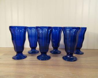 Six Anchor Hocking cobalt blue glass ice cream dessert parfait footed glasses- excellent condition