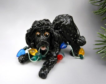 Poodle Black Christmas Ornament Figurine Lights Porcelain