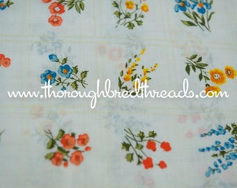 Wildflower Squares  - Vintage Fabric New Old Stock So Bright and Happy