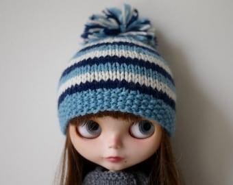 Blythe Hat - Blue Striped Pompom Hat