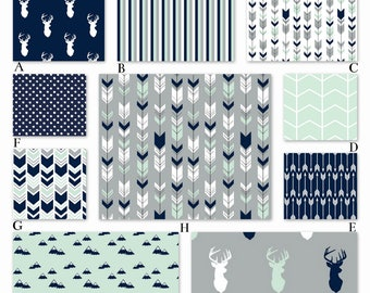 Navy, Mint and Gray Woodland Tribal Crib Baby Bedding, The Northern Lights Collection