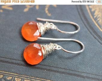 Sale Carnelian Earrings Sterling Silver Earrings Wire Wrapped Rustic Jewelry Orange Gemstone Earrings