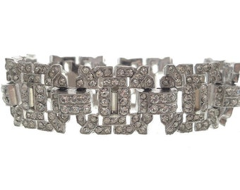 Art Deco Vintage Bracelet, Antique 1920s Art Deco Jewelry, Original Designer Fine Cuff, Vintage Art Deco Rhinestone, Wedding Jewellery