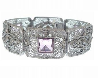 Art Deco Filigree Bracelet, Designer JJ White Antique Amethyst Wide Filigree Bangle, 1920s Art Deco Statement Jewelry, Wedding Jewelry