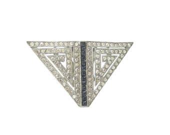 Sapphire Antique Art Deco Brooch, 1920s Vintage Dress Clip, Fine Antique Rhinestone Wedding Jewelry, Vintage Jewellery