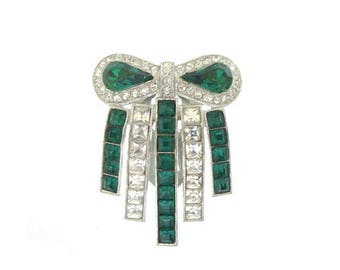 Emerald Antique Art Deco Dress Clip, Vintage Emerald Brooch, 1920s Fine Art Deco Jewelry, Art Deco Wedding Jewelry