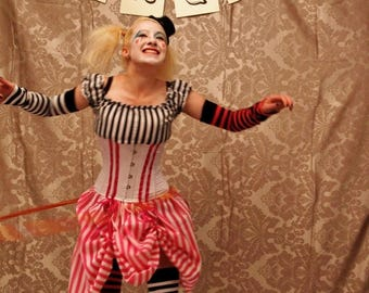 CUSTOM SALE Circus Clown Corset Costume Oufit-CORSET Only-Made In Any Size