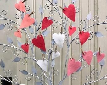 Felt Hearts, Pure Merino Wool, Valentine Assortment, Set of Twenty, Wedding Decor, Shower Decoration, Wool Applique, Primitive Hearts