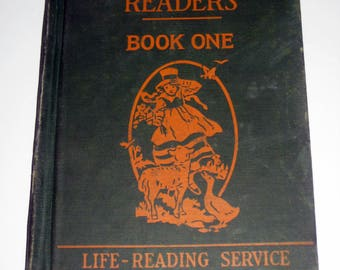 1920s Children's  Reader  - Child's Library Readers Book One -  for Display, Collecting or Altered Art, Crafts, etc.