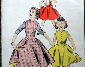 Vintage Advance sewing pattern #7703; Girls' Size 6; 1950s; Reversible skirt and reversible weskit; PATTERN IS COMPLETE
