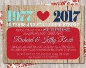 Wedding Anniversary Party Invitation, Retirement Party Invite, Red Navy & Aqua, 5x7 printable JPG PDF