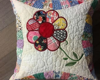 "Vintage Quilted Pillow . . . Applique DRESDEN PLATE FLOWERS . . . 14"" Quilted Pillow . . . Recycled Quilt"