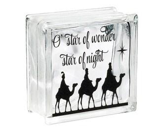 "Christmas Glass Block Decal Sticker ""Wise Men Star of Wonder"" Nativity Silhouette DIY Christmas Light Glass Block Sticker Holiday Vinyl"