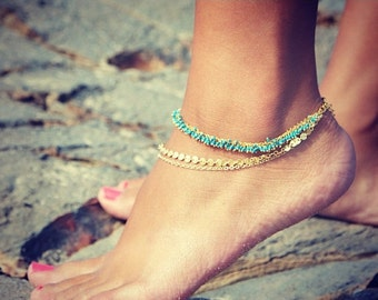 Anniversary SALE LOVMELY ANKLET- triple chain Turquoise, Coral, or white anklet 22k gold wire wrapped / boho chic
