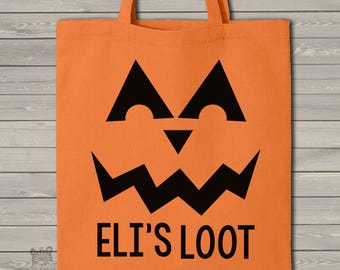 Halloween bag trick or treat pumpkin face ORANGE tote bag perfect to use as a Halloween bag to collect all the candy MBAG1-032