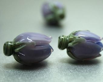 Blue Violet Rosebud Handmade Lampwork Flower Beads SRA FHF