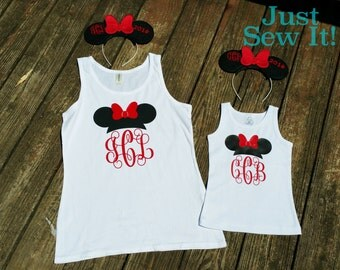 Girls Minnie Mouse shirt with Disney ears set for Disney vacation Mickey birthday party family cruise boys toddler mommy and me matching set