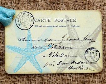 French Starfish Beach Seashore Ocean Postcard Gift or Scrapbook Tags or Magnet #242