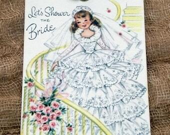 Retro Syle Bride Wedding Shower Favor or Wish Tree Gfit or Scrapbook Tags #283