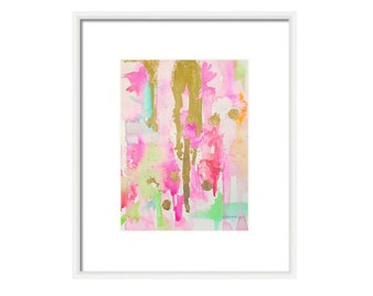 Watercolor Pink Abstract Art Print-Pink-Fine Art Print-Watercolor Painting-Mint-Gold-Wall Art-Abstract Painting-Giclee