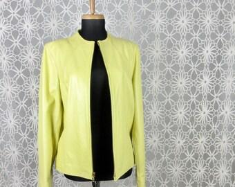 Vintage Yellow Leather Jacket, Butter Soft Lamb, Sz M, L