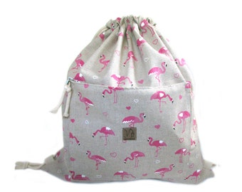 flamingo backpack cotton linen