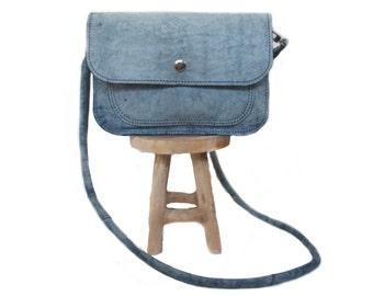 blue leather shoulder bag screenprint firefly
