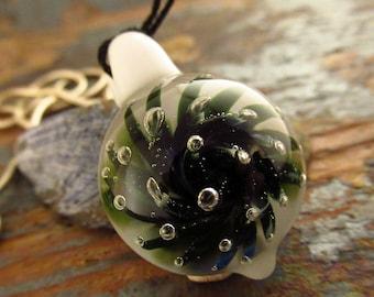 Starburst Glass Pendant - Flower Inclusion - Airtrap Pattern - Welsh Pendant - Lampwork Flamework Pendant - Glass Jewellery- Focal Pendant
