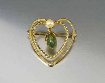Vintage Gold Heart Pearl Jade Brooch Pin, Green Jadeite Cultured Pearl Brooch, Mothers Day Gift Vintage 1950s Jewelry