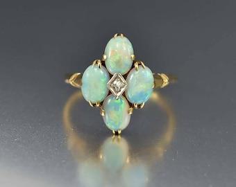 Edwardian Gold Diamond Opal Ring, Opal Engagement Ring, Antique Engagement Ring, Alternative Wedding Ring, Edwardian Ring, Birthstone Ring