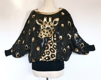 80s Giraffe Sequin Beaded Batwing Slouch Rare Trophy Top Blouse Shirt . XS - SM . D108. 1239.11.3.16