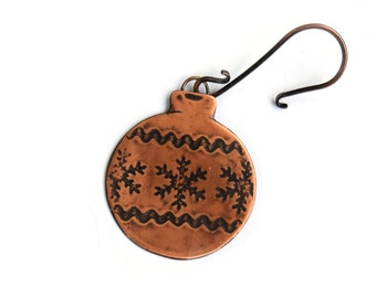 Snowflake Holiday Ornament, Rustic Copper Ornament with Handmade Ornament Hook, Christmas Bulb, Handmade Holidays
