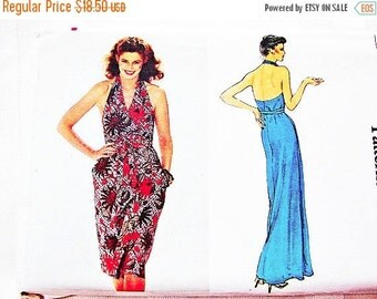 SALE 25% Off Wrap Halter Dress Pattern Vogue Pattern Womens Evening Dress, Wrap Dress Pattern Misses Size 8 UNCUT