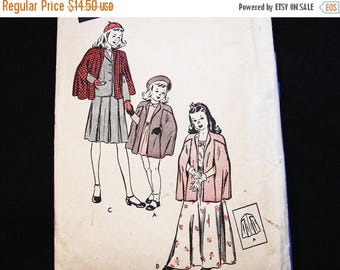 on SALE 25% OFF 1940s Sewing Pattern Toddler Cape Coat Pattern Butterick Toddler size 4 Kids Cape Vintage Sewing Pattern 40s