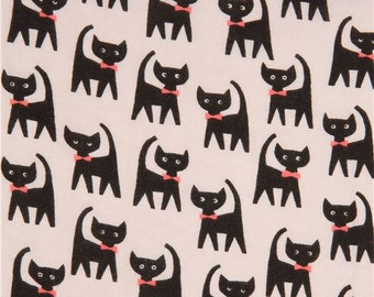 211742 grey double gauze fabric black cat animal from Japan
