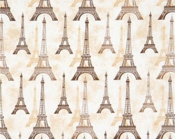 213662 cream beige Robert Kaufman brown beige Eiffel Tower fabric City of Lights
