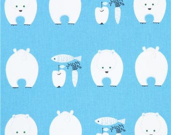 213715 blue with white polar bear Canvas fabric from Japan