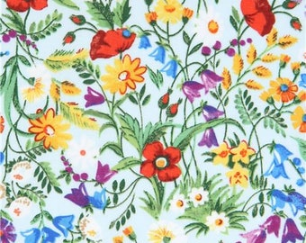 214422 light blue Robert Kaufman colorful flower fabric London Calling 7
