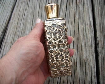 Vintage 1960's Gold Filigree Perfume Bottle, Refillable, French Chic, Hollywood Regency