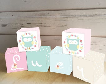 Floral Owl Wooden Letter Blocks, Personalized Nursery Blocks Baby Decor Gift