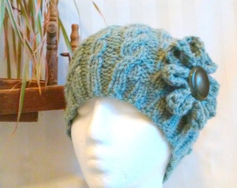 Knit Cable Beanie.  Beanies for Men or Women. Knit Hat. Gray-Green. Green-Gray. Optional Crocheted Flower. Antique Button. Knit Beanie.