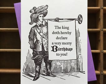 Town Crier Birthday Letterpress Card