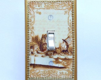 Mad Tea Party sets- Switchplates with & MATCHING SCREWS- Alice in Wonderland wall decoration Alice We're all mad here mad tea party wall art
