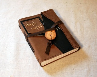 SUMMER SALE:  Deeply Rooted Leather Journal with Recycled Paper-Medium