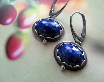 Lapis Lazuli Earrings Sterling Silver Dark Blue Gemstone Drop Earrings, Handmade Sterling Silver Jewelry