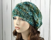 Hand knit woman hat - Oversized Wool Hat, slouchy hat,  green blue purple blend hat, winter hat